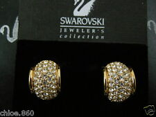 SIGNED SWAROVSKI PAVE' CRYSTAL CLIP EARRINGS NEW RETIRED