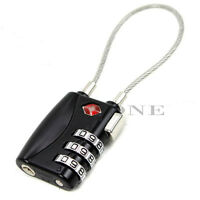 Black TSA Resettable 3 Digit Combination Travel Luggage Suitcase Padlock Lock