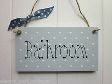 SHABBY BATHROOM SIGN PLAQUE painted in Duck Egg Paint Country Cottage Chic