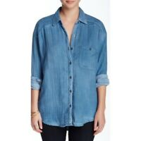 Womens Free People Blue Gauzy Long Sleeve Button Front Shirt Top Size Small