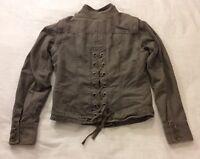 Women's Motorcycle Convertible Jacket Vest Small Lace Up Arizona Gunmetal Grey