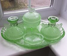 Art Deco Green Glass 5 Piece Butterfly Dressing Table Set by Sowerby
