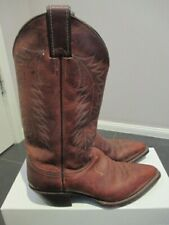 Justin Women's Chestnut Leather Cowboy Boots, Made in USA, US 6.5B