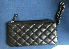 Negro Embrague Bag Con Asa De Cadena De Plata