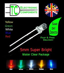5mm Super Bright LED Round Water Clear Package x10 (different colours available)