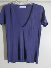 C&C California Women's relaxed V neck cool grape T-Shirt with pocket Size S NWT