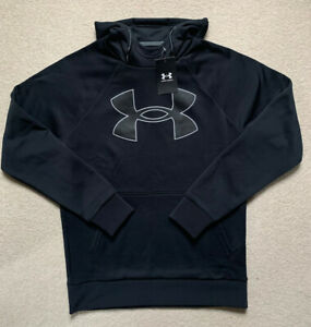 Mens Under Armour Large Logo Hooded Sweatshirt. 100%Authentic. Black. Size Small