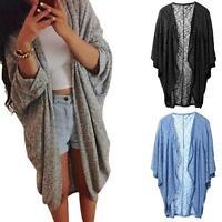 Women Lady Long Knit Sleeve Outwear Kimono Coat Jacket Top Blouse Cardigan