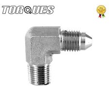 "AN-4 (4AN AN04) to 1/8"" NPT 90 Degree Stainless Steel Adapter"