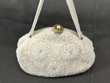 New listing Vintage Hand-beaded White Purse clutch Made by Walborg Japan evening bag