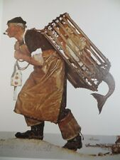 """Norman Rockwell Lobster-man A Fair Catch Mermaid In Cage 1993 Art Print 12""""x15"""""""