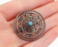 925 Sterling Silver - Vintage Turquoise Floral Filigree Round Brooch Pin- BP5739