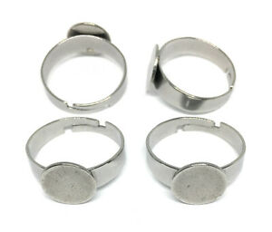 10mm pad hypoallergenic stainless steel ring blanks adjustable size 6.5 US