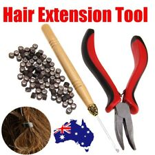 Hair Extension Tool Kit Feather Pliers Pulling Needle Silicone Micro Beads