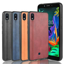 For LG K20 2019 Retro Stitching Leather Fabric Coated Rubber Hard case cover