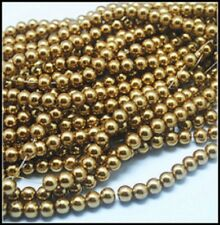 1 Strand 4mm Camel Brown Pearl Glass Beads