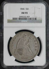 1846 Seated Liberty Silver Dollar NGC AU-55