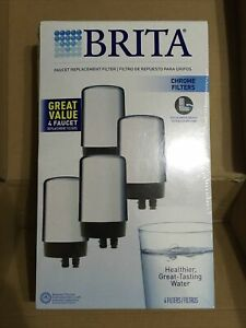 New Brita Filtration Systems Faucet Replacement Filters FR-200 Chrome 4 Pack