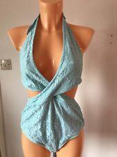 Wolf & Whistle Lace Plunge Swimsuit Pastel Blue UK 12B/C (L58/5)