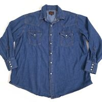 Plains Western Pearl Snap Shirt Top Mens Size XL