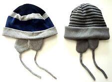 ZARA Boy Baby Knitted GREY BLUE Trapper Turn Up Beanie Hat 6-24m