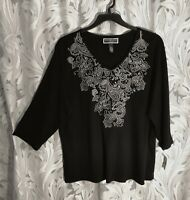 KAREN SCOTT EMBELLISHED SOFT STRETCH KNIT COTTON BLND TOP SHIRT BLOUSE~2X~1X~NEW