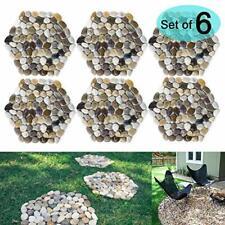 Sunface River Rock Stepping Stones Pavers Outdoor ,Garden, water resistan Pack 6