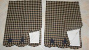 Star Patch Tier Curtains Black & Tan Plaid Farmhouse Lined 72WX24L