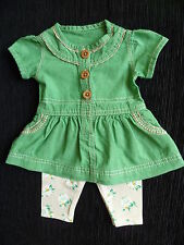 Baby clothes GIRL newborn 0-1m George green cotton dress top/beige leggings NEW!