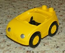 LEGO - Duplo Car w/ 2 Studs on Back, Silver Headlights Yellow Wheels - Yellow