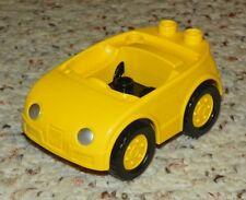 LEGO - Duplo Car w/ 2 Studs on Back, Silver Headlights Yellow Wheels - Yellow