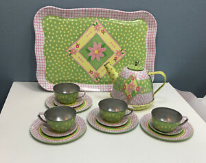 Tin Tea Set w/Serving Tray Flowers Lattice Polka Dot  - 15pc Schylling