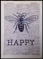 Vintage Bumble Bee Print Dictionary Page Wall Art Picture Insect Be Happy Quote