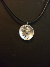 Custom Handmade Personalized Name Hand Stamped Aluminum Necklace & Flower Charm