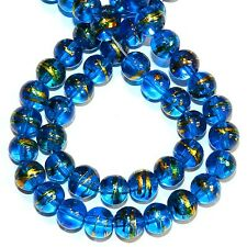 "G1781L Dark Blue 8mm Round Metallic Drawbench Swirl Glass Beads 32"" (100pc)"