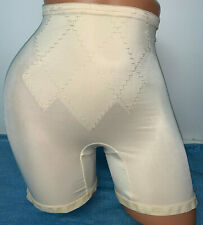 Vintage Voguemont Beige Semi Sheer Nylon Gusset Hi Wait Long Leg Girdle Xl