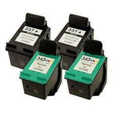 2 HP 337 C9364EE Black+2 HP 343 C8766EE Colour Reman Ink Cart HP Officejet 6300