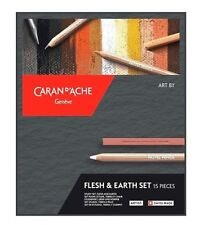 Caran D'ache 15 Piece Flesh & Earth Pastel Pencil Set Sketching Drawing