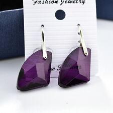 Elegant Women Silver Aqua Blue Crystal Drop Hook Dangle Earrings Jewelry Gift