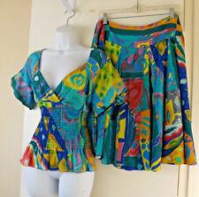 ***RALPH LAUREN Sz 6 silk TOP + SKIRT 2PC DRESS multi-color