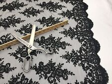 Mesh lace fabric Corded Flowers Embroider With Sequins Black by the yard.