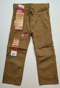 Boys WRANGLER Slim Straight 4 Way Flex For Comfort Jeans Brown 4 5 10 12 14 16 R