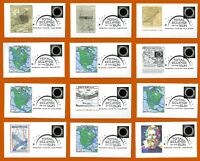 Complete Set of 12 Historic First Day Covers. FDC Total Eclipse of the Sun
