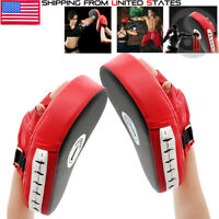 2x Focus Pad Hook & Jab Mitt Boxing Punch Gloves MMA Muay Thai Kick Sparring