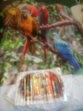 VIBRANT PARROT FABRIC SHOWER CURTAIN AND WALL DECAL