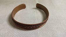 "Vintage Solid Copper Link Chain Embossed 7"" Cuff Bracelet"