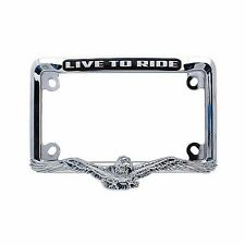 NEW CHROME 3D AMERICAN EAGLE MOTORCYCLE LICENSE PLATE FRAME - LIVE TO RIDE