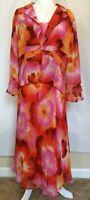 Bob Mackie Silk Watercolor Floral Sleeveless Midi Maxi Dress Jacket Set Size 16
