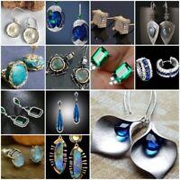 Trendy Sapphire Emerald Opal 925 Silver Ear Hook Stud Wedding Earrings Gift Ms