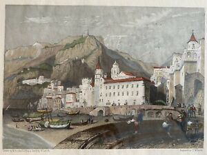 Hand Colored Etching Engraving Amalfi Italy Framed William Leighton Leitch Print